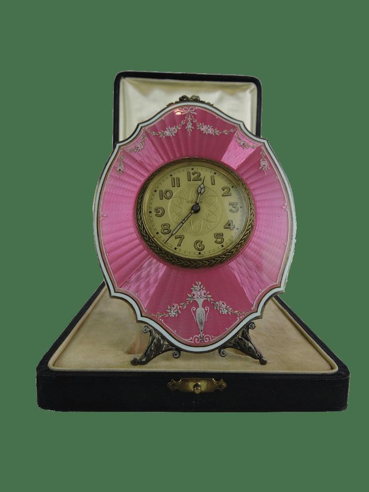 Swiss Silver 935 Pink Guilloch 233 Enamel Clock With