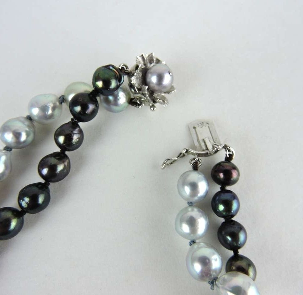 Black And Silver Grey Baroque Double Strand Pearls