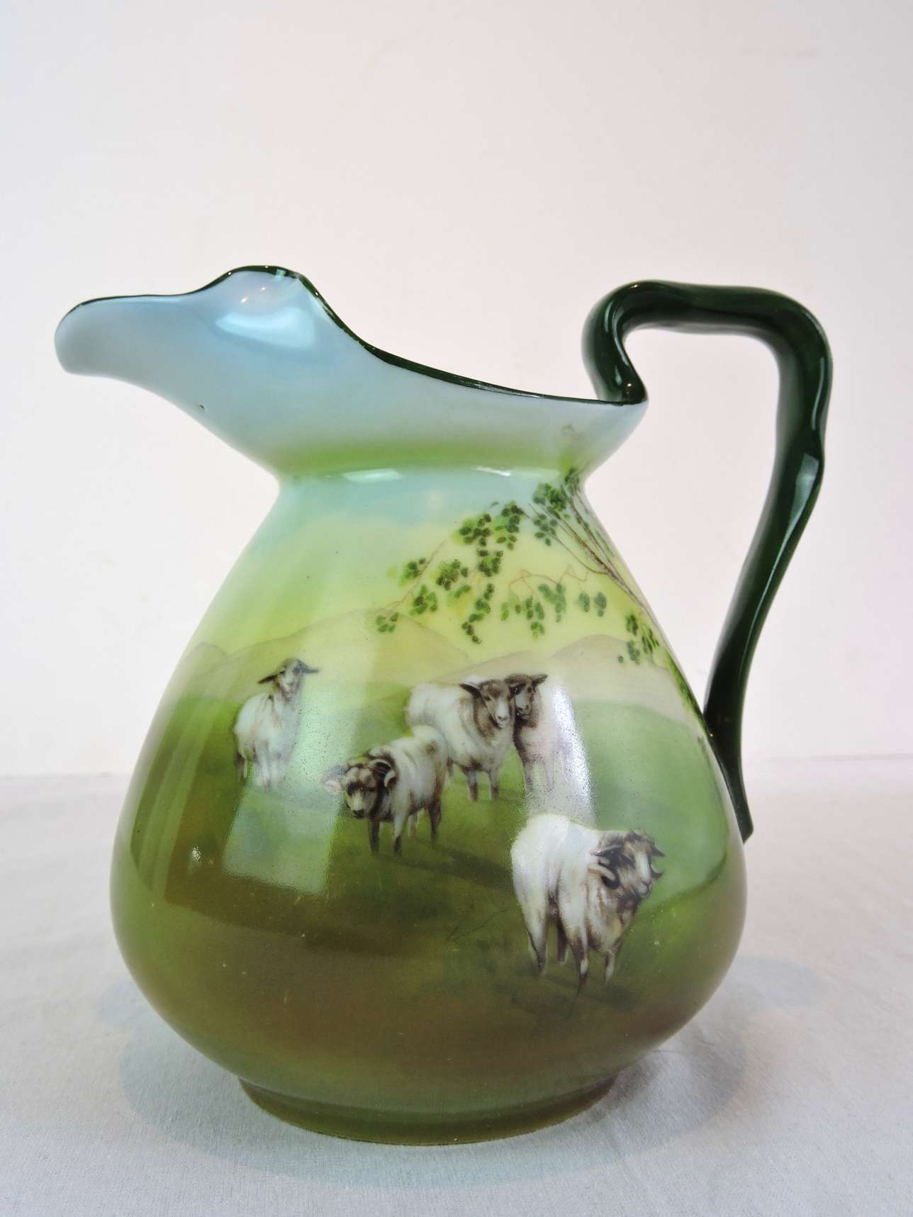 Royal Bayreuth Milk Jug With Hand Painted Scene C 1900