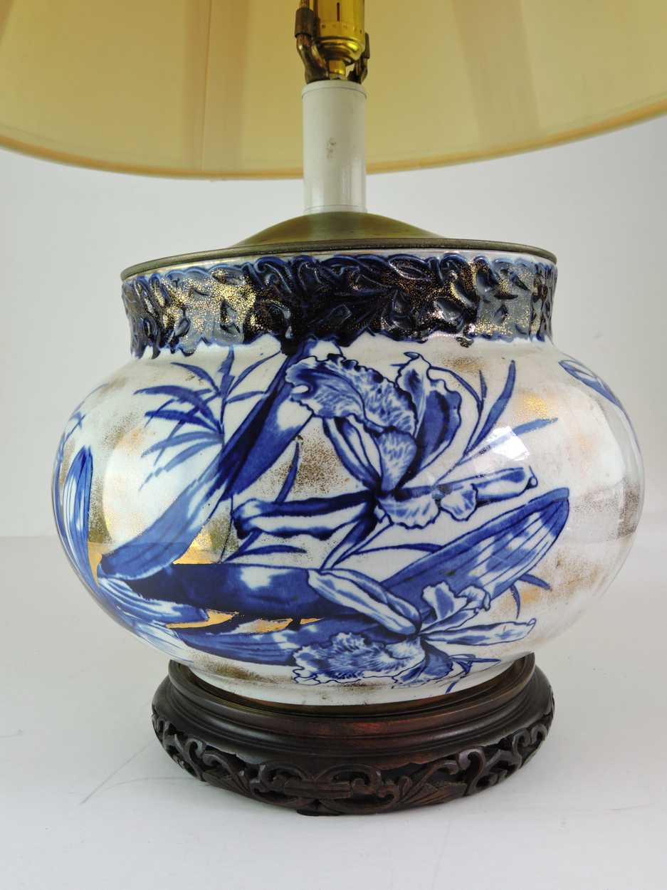 Blue White And Gold Porcelain Lamp C 1900 Bernardis