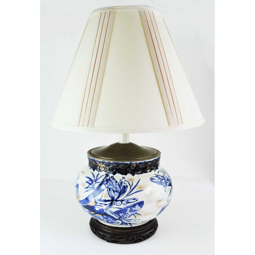 Blue White And Gold Porcelain Lamp C 1900