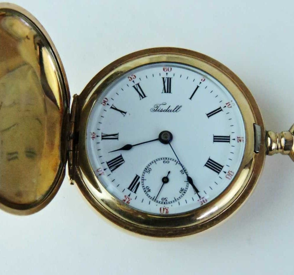 Small ladies tisdall gold filled double hunter case pocket watch bernardis antiques for Small size womans watch