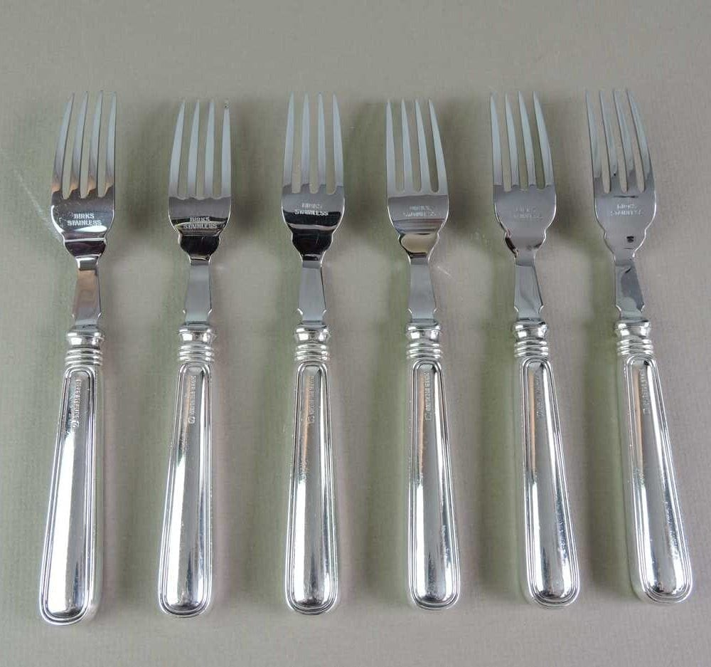 Set of 6 birks sterling 39 saxon 39 pattern fish forks and knives bernardis antiques - Knives and forks sets ...