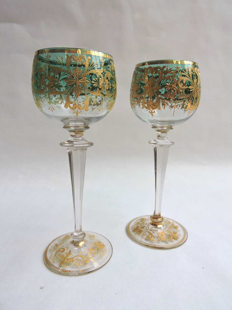 Pair of Austrian Moser Stemmed Crystal Wine Glasses with