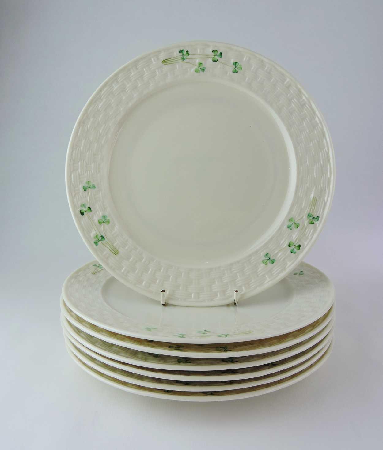 Irish Belleek Shamrock Dinner Plates Bernardis Antiques & Tableware Ireland - Castrophotos