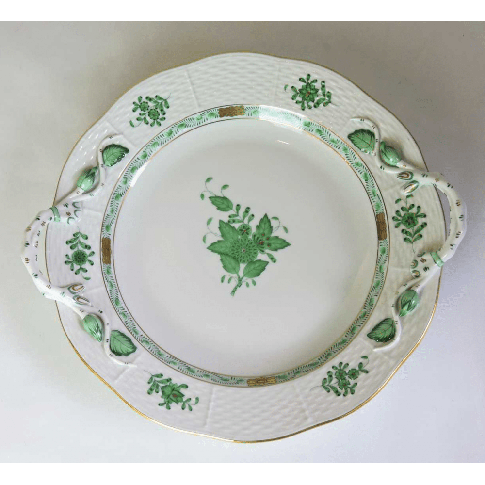 herend dessert serving plate in green  u0026 39 chinese bouquet