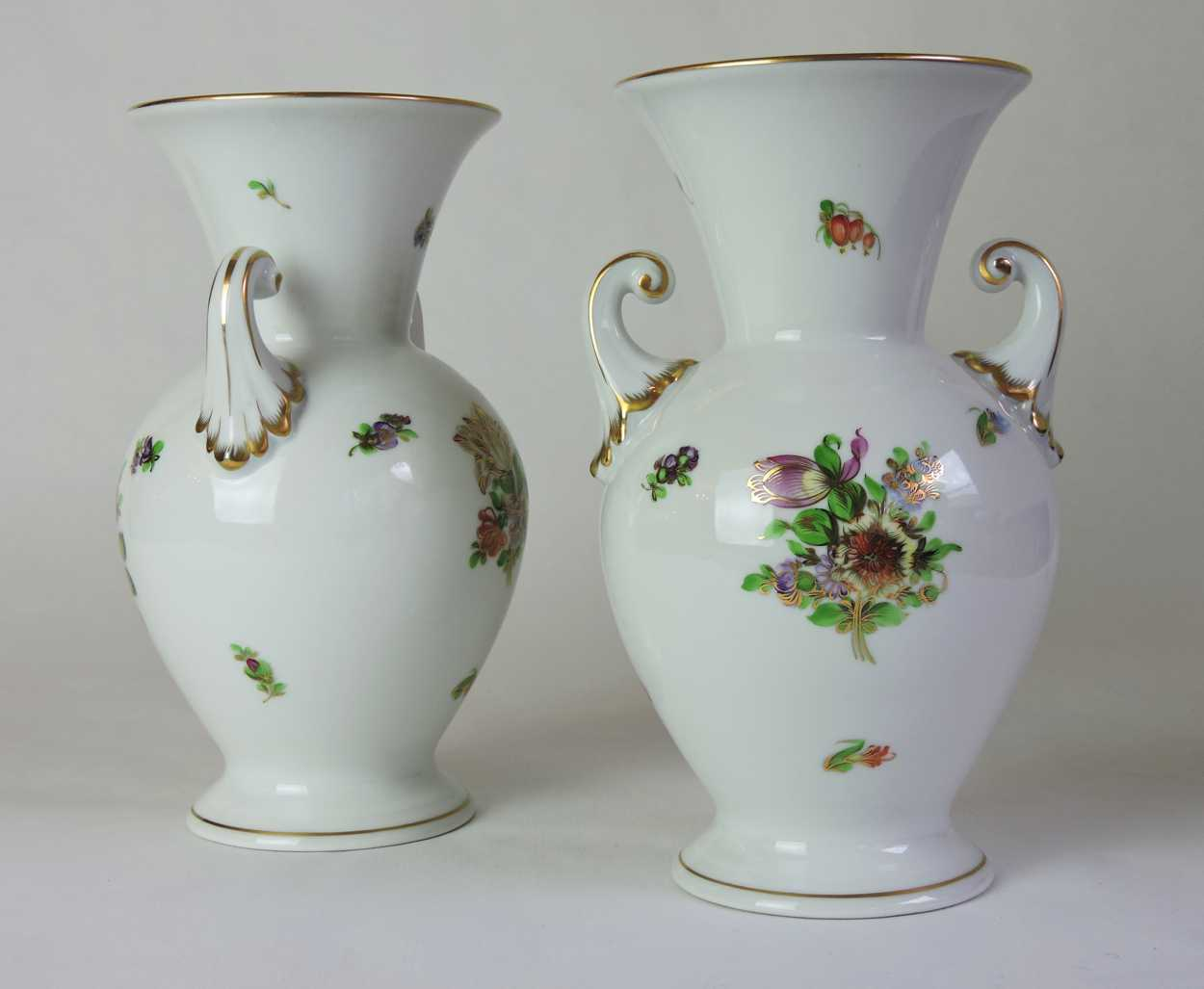 Pair Of Herend Porcelain Vases With Hand Painted Flower