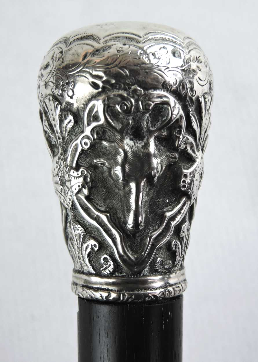 19th Century Walking Stick Cane With Silver Knob