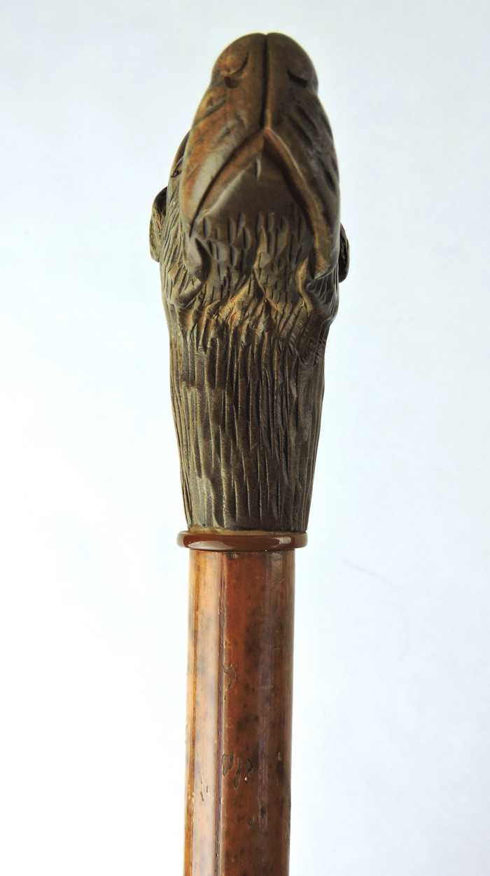 Th century walking stick folk art cane with hand