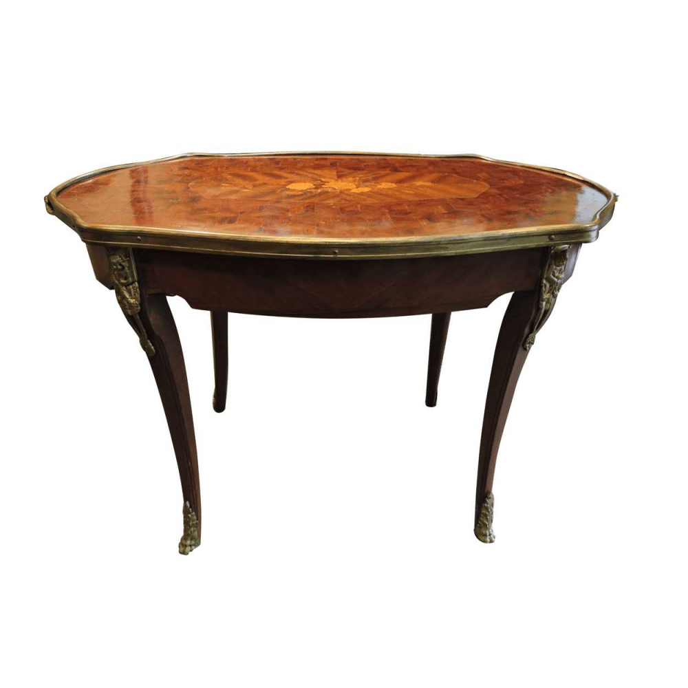 French Parquetry Coffee Table: French Parquetry & Inlaid Coffee Table With Bronze Mounts