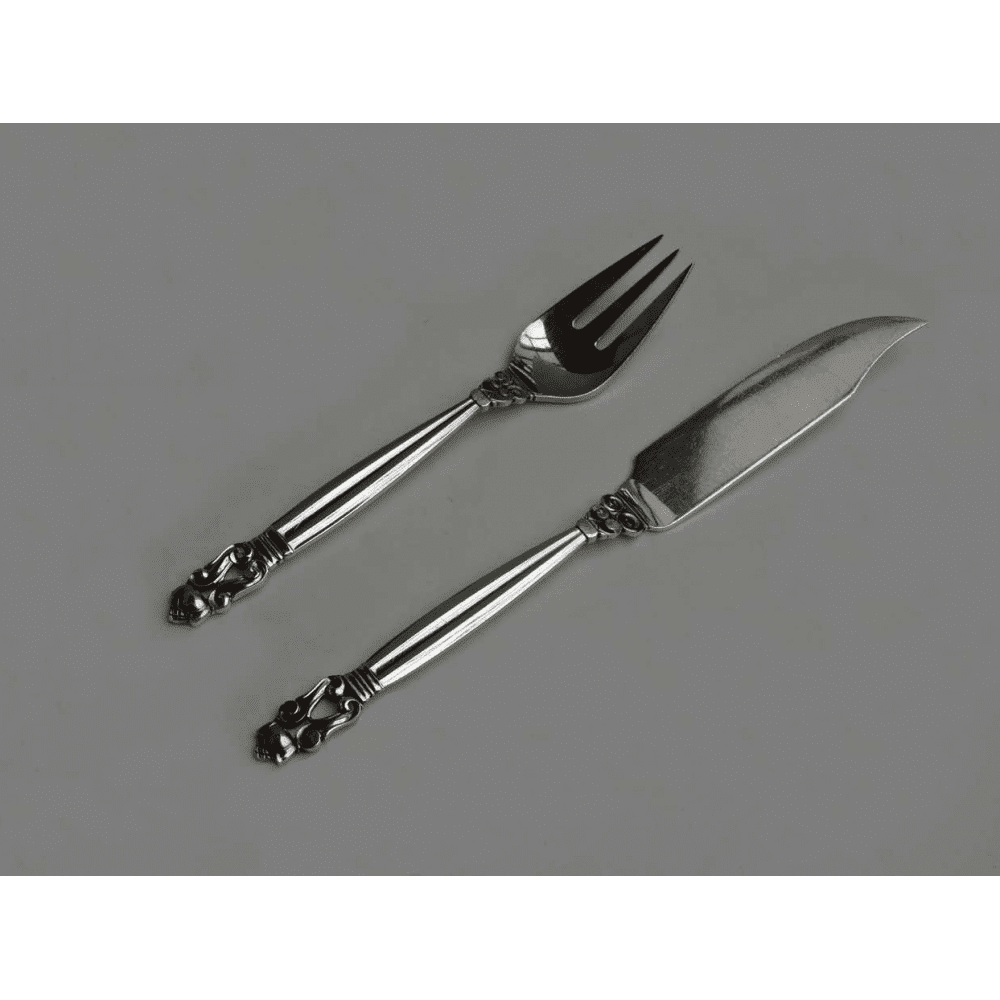 Georg jensen sterling fish knives forks set for 12 in acorn pattern solid sterling blades - Knives and forks sets ...