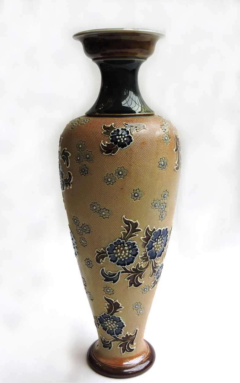 Late 19th Century Royal Doulton Lambeth Stone Ware Vase Signed J Lange Bernardis Antiques