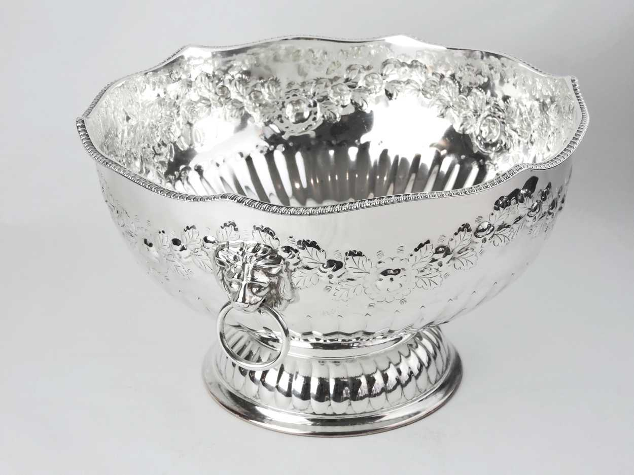 English Footed Silver On Copper Fruit Bowl With Flower
