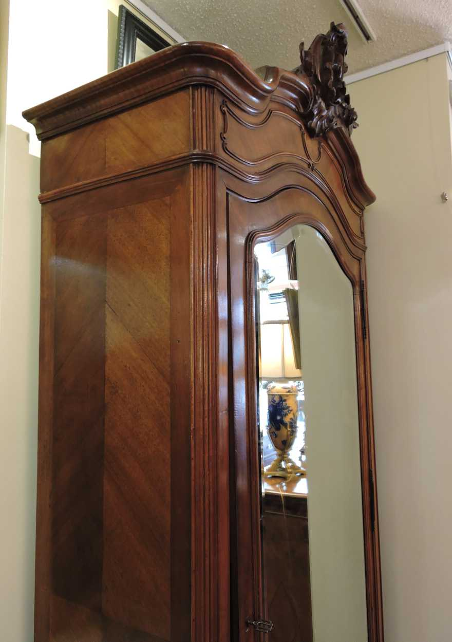 19th century tall french armoire wardrobe in walnut with. Black Bedroom Furniture Sets. Home Design Ideas