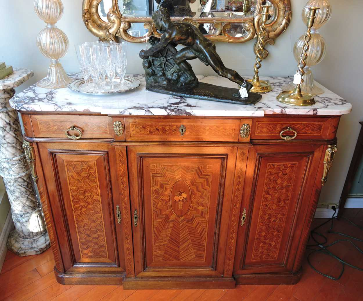 Marble Top Buffet ~ French parquetry inlaid with marble top buffet server c