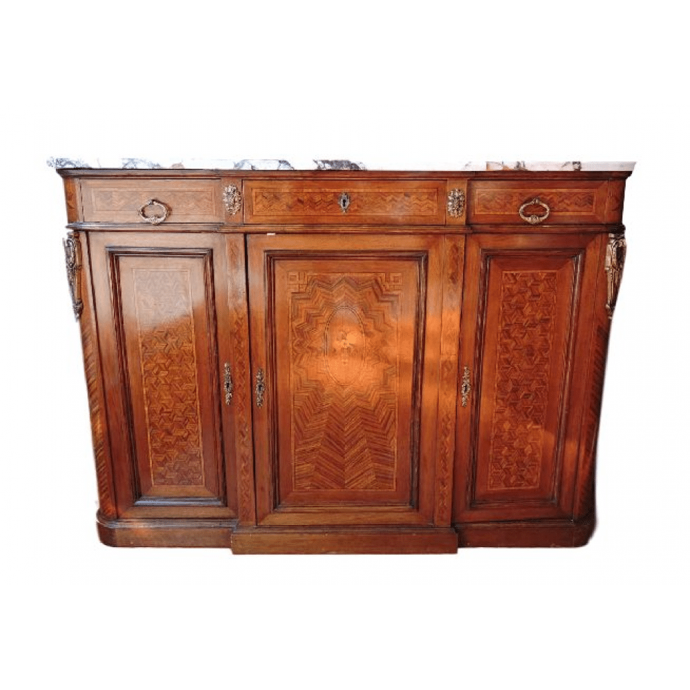 French parquetry inlaid with marble top buffet server c