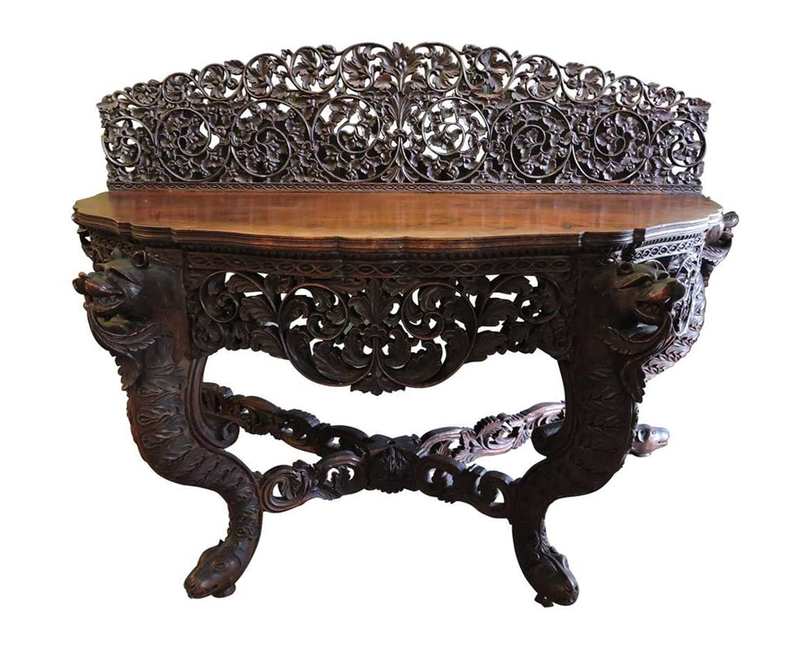 Large anglo indian carved demi lune table 19th century for Indian furniture