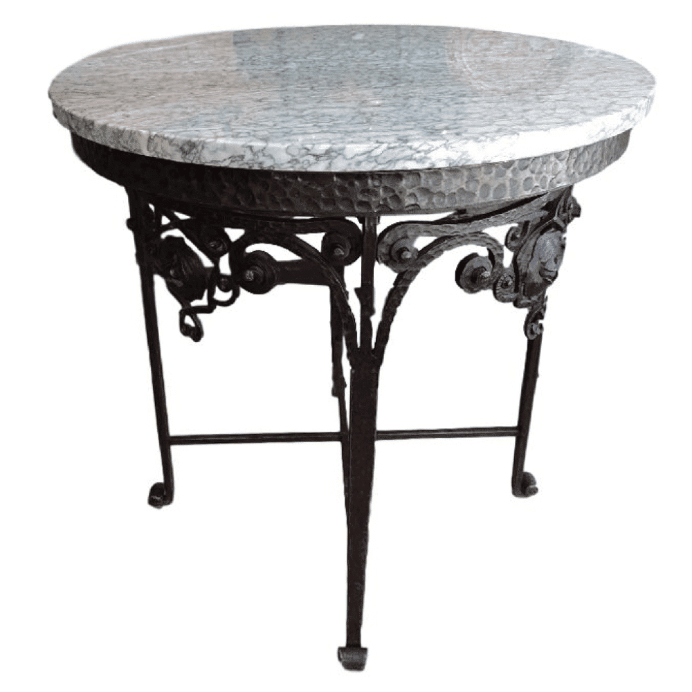 french paris art deco wrought iron round marble top side. Black Bedroom Furniture Sets. Home Design Ideas