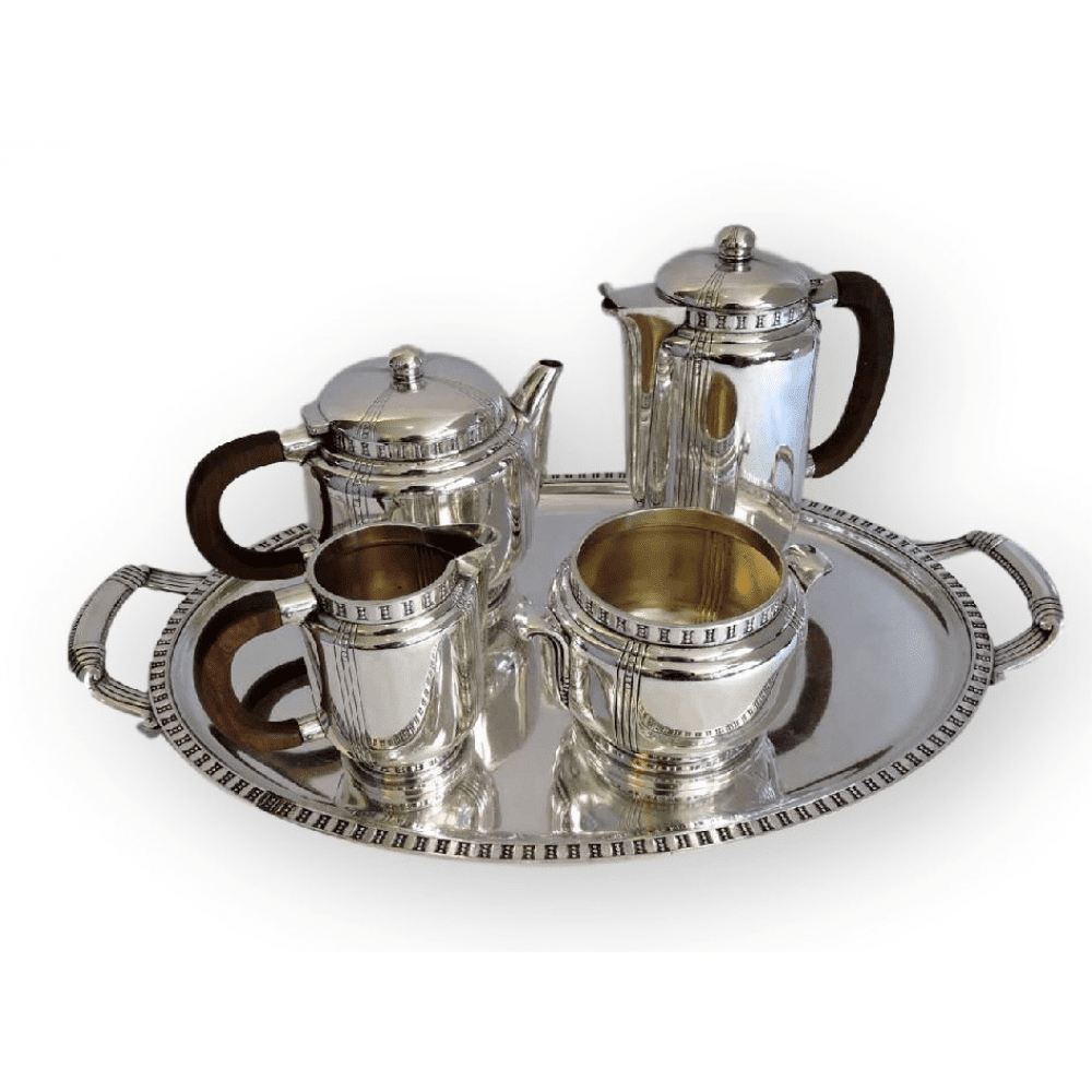 French Art Deco 5 Piece Silver Plated Tea Service u2013 including Tray. Silver Holloware  sc 1 st  Bernardis Antiques & French Art Deco 5 Piece Silver Plated Tea Service - including Tray ...