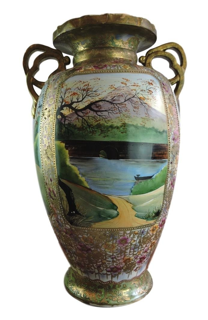 Large Japanese Moriage Vase With Hand Painted Scenes C1900