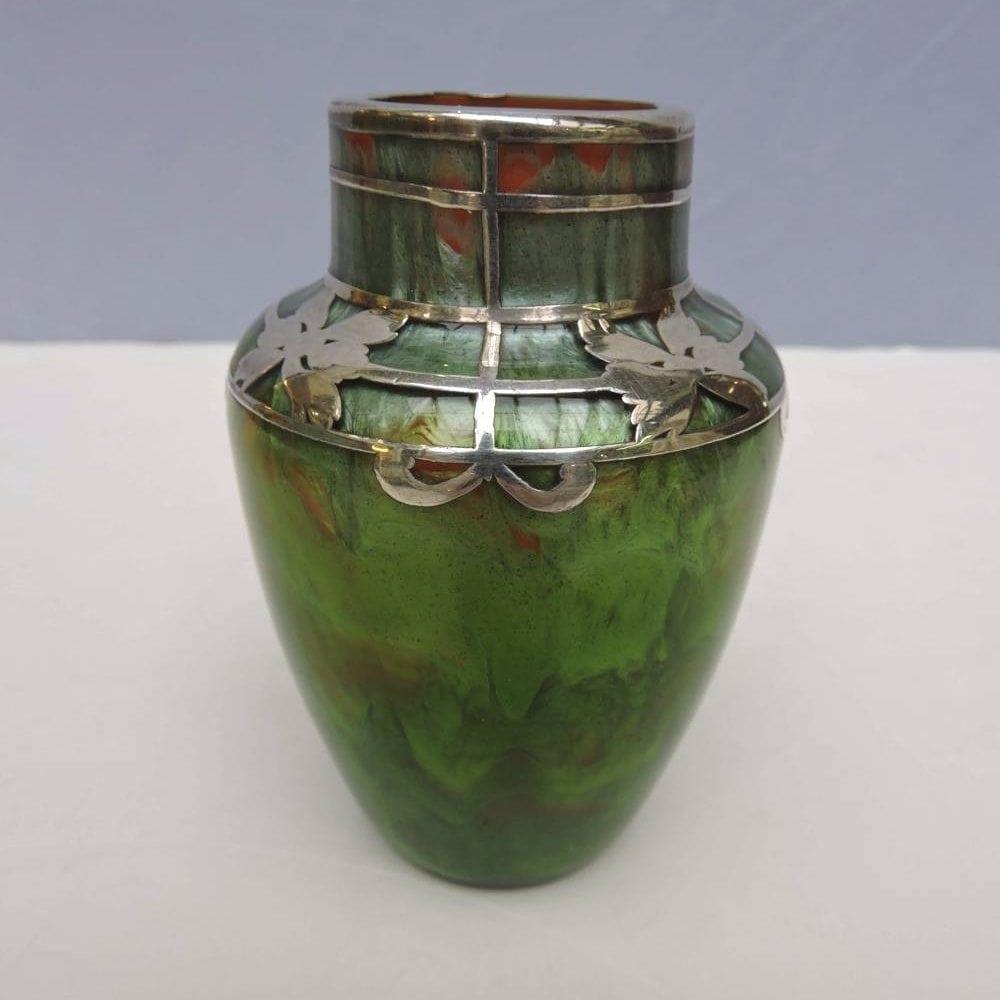 Loetz Titania Vase With Silver Overlay In Orange Opal Amp Leaf Green Circa 1900 Bernardis Antiques