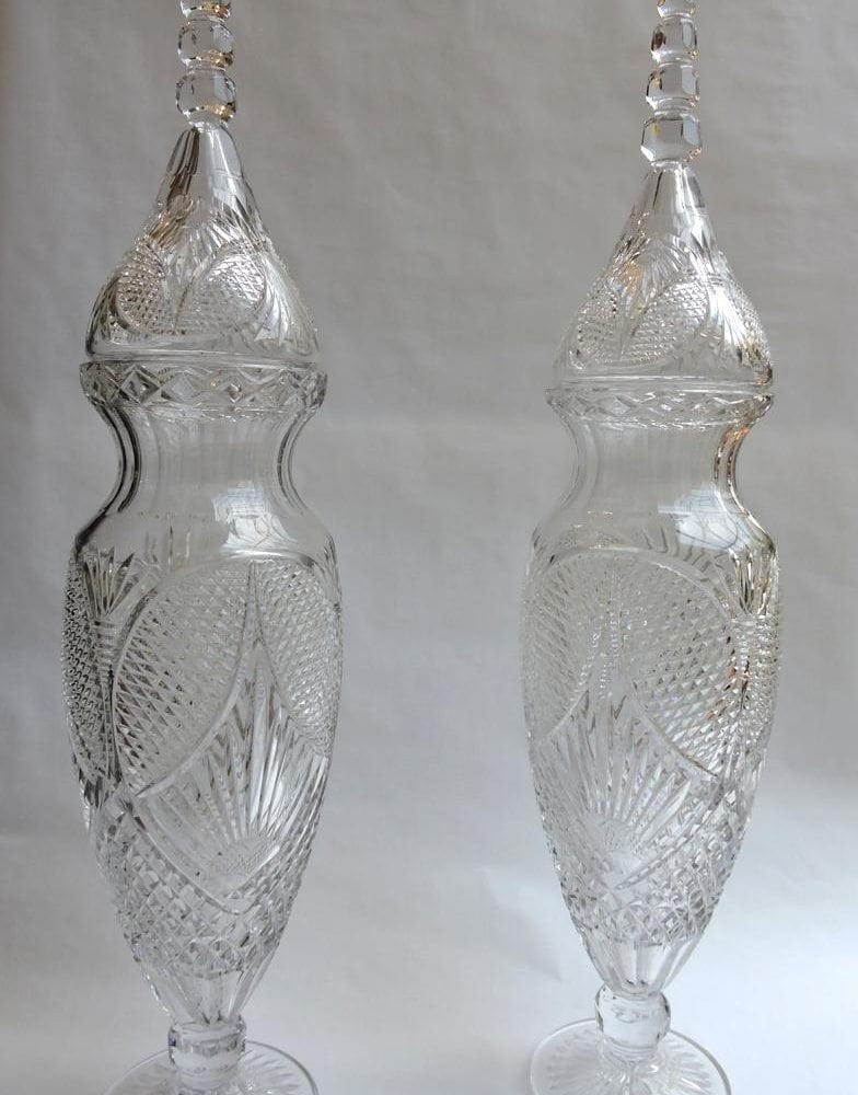 Pair Of Large Cut Crystal Vases Amp Covers 3 Feet Tall
