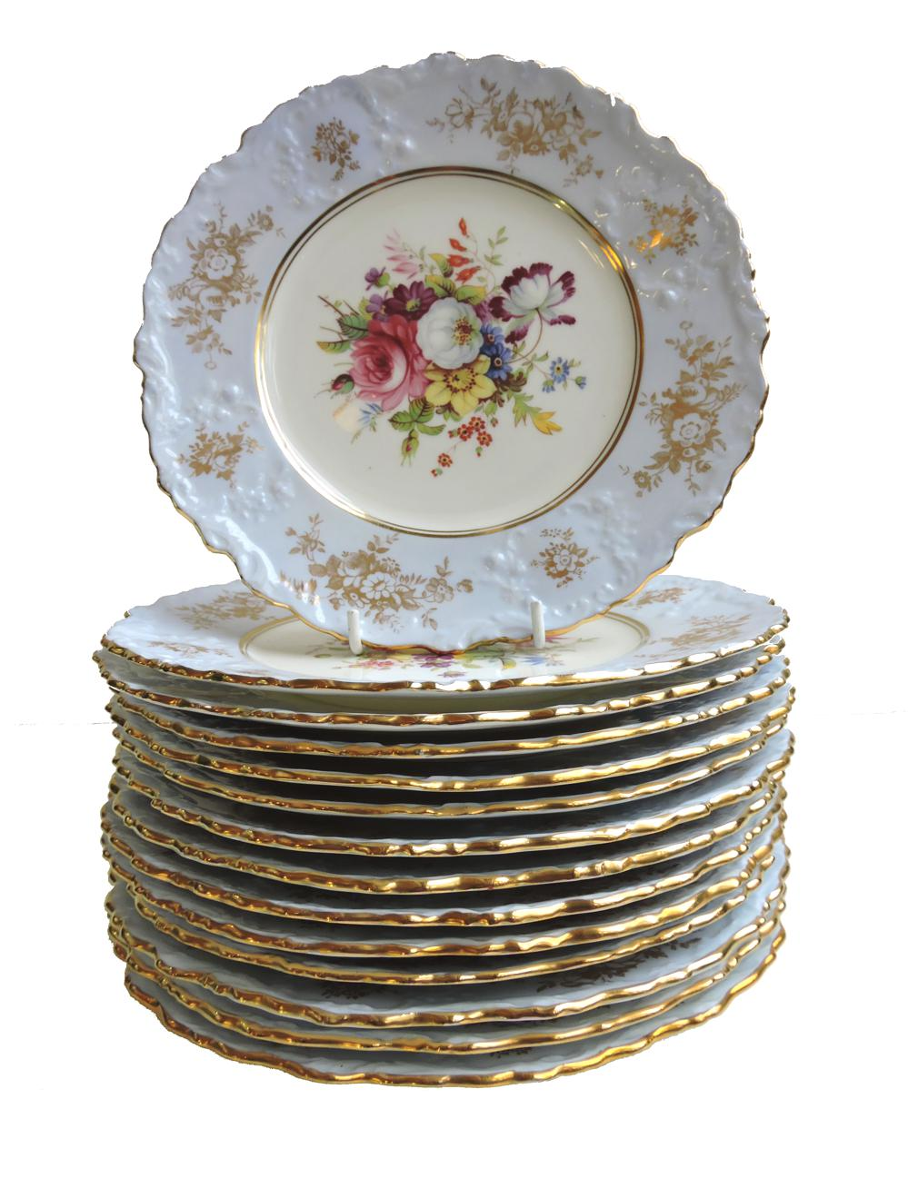 Set Of 14 Hammersley Floral Hand Painted Dessert Plates