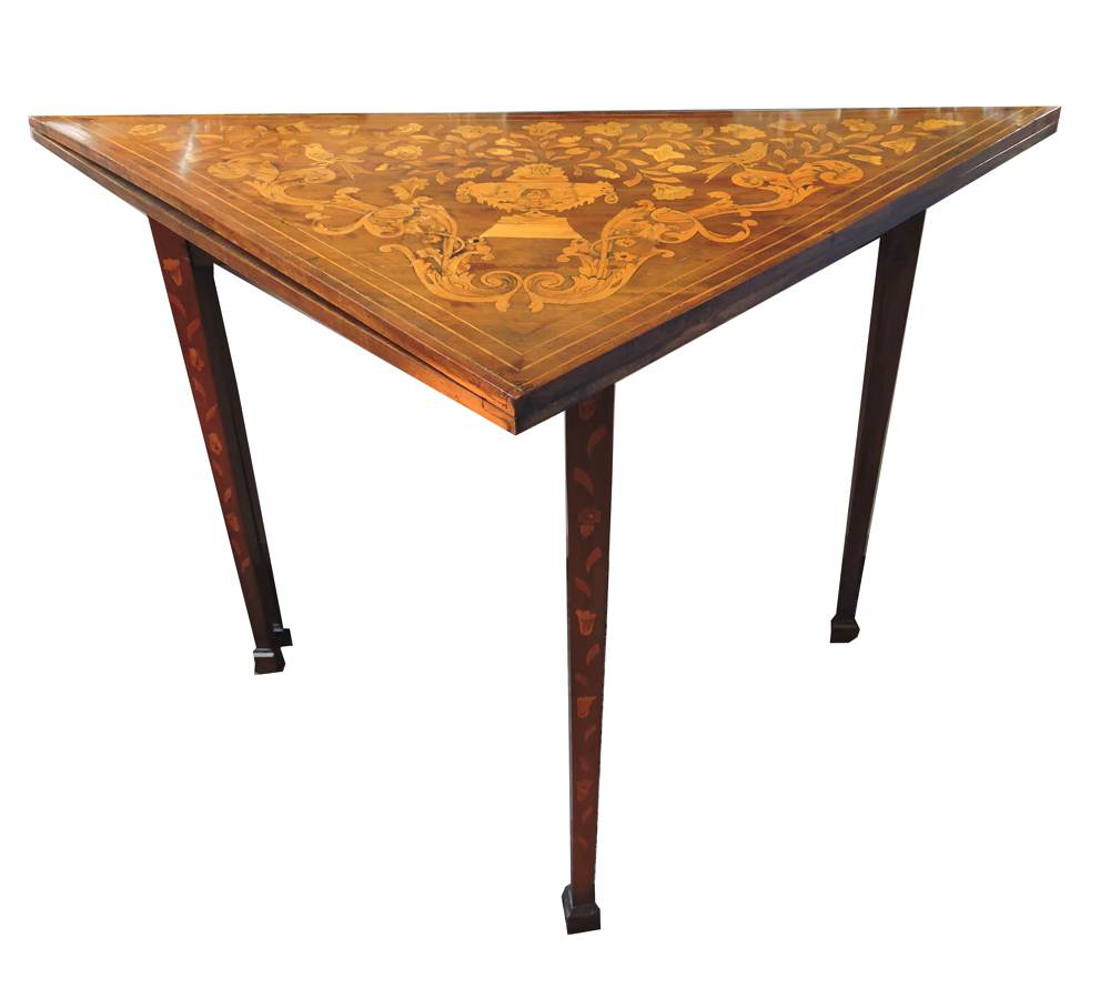 19th Century Dutch Marquetry Folding Games Chess Table