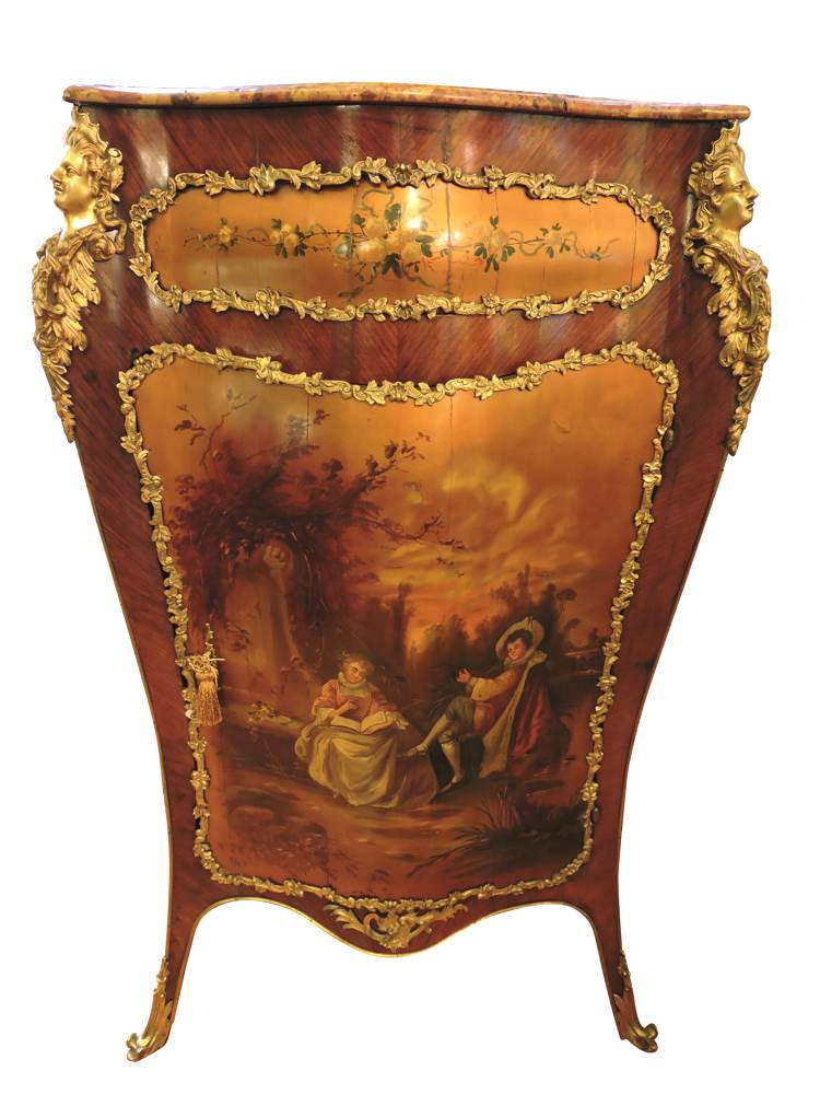 French bronze mounted corner cabinet with hand painted for Furniture in french