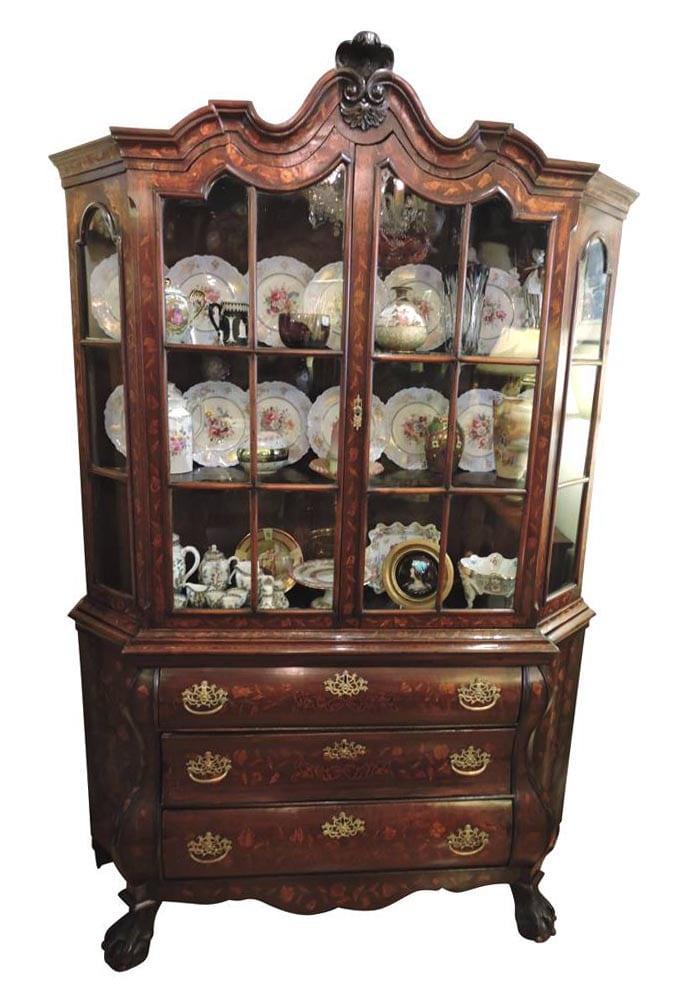 18th Century Dutch Marquetry Bombay Shape Cabinet Circa