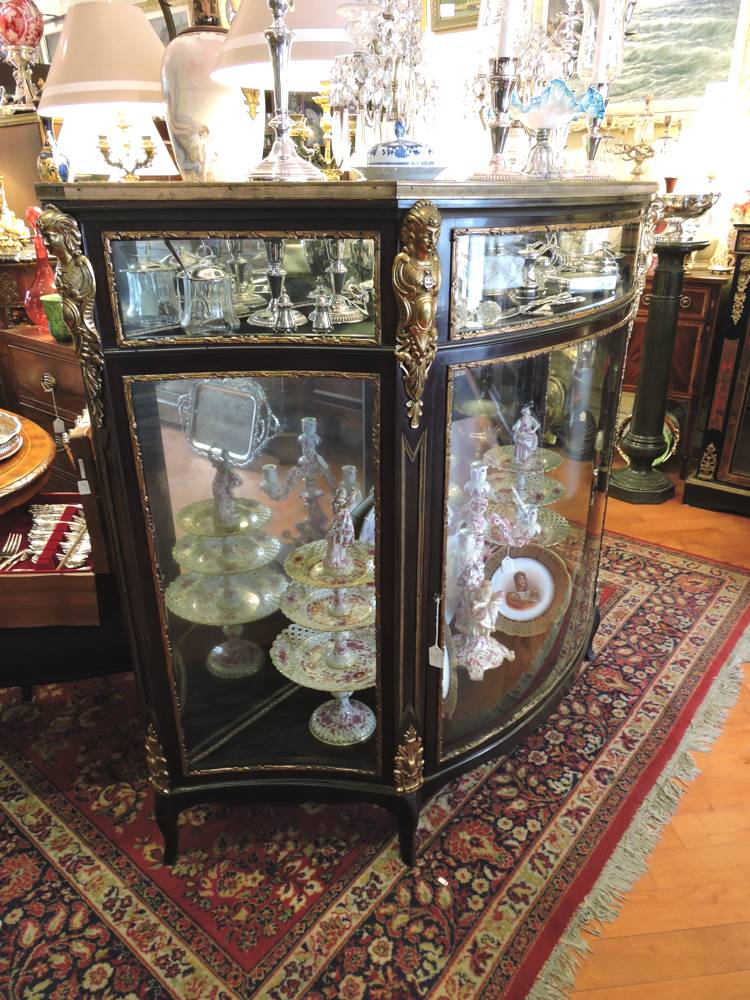 Large French Black Lacquer Amp Bronze Large Showcase Cabinet
