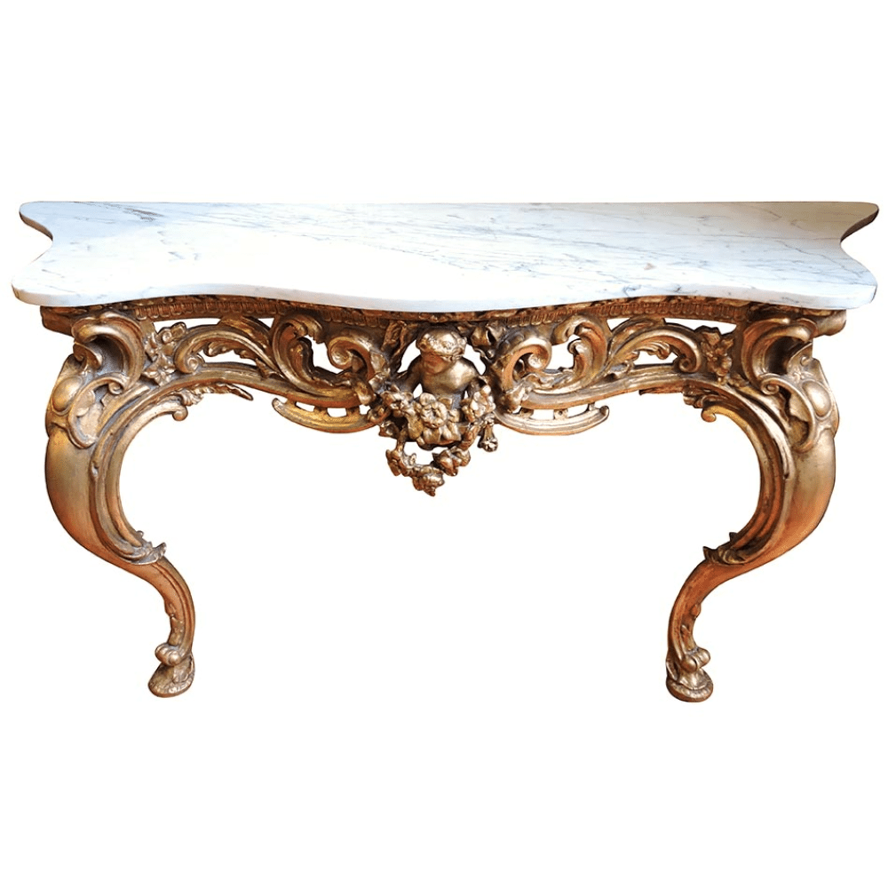 Early 19th Century French Gilt Wood Amp Marble Top Console