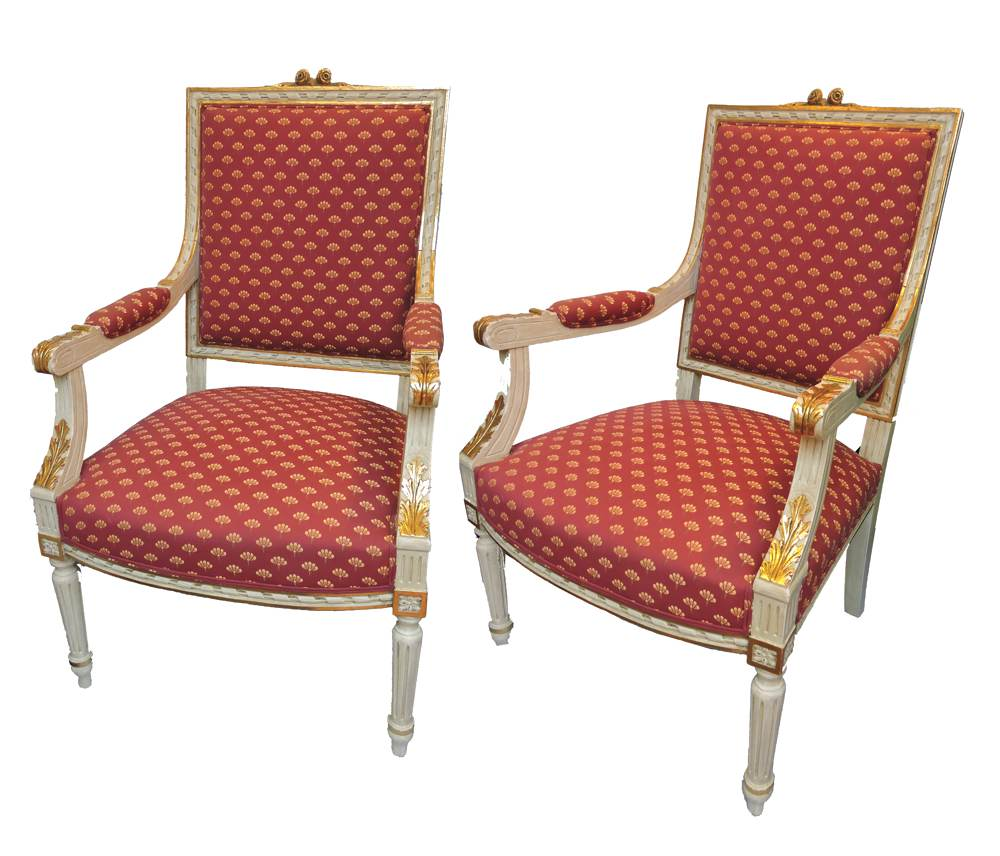 Pair of french louis xvi style bergere chairs circa 1900 for Furniture in french