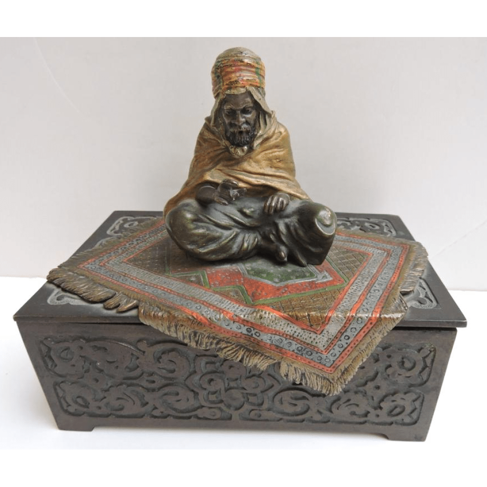 Cold Painted Austrian Bronze Tobacco Box By Franz X
