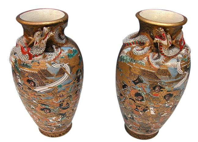 Pair Of Meiji Period Satsuma Vases With Figural Dragons And Samuri