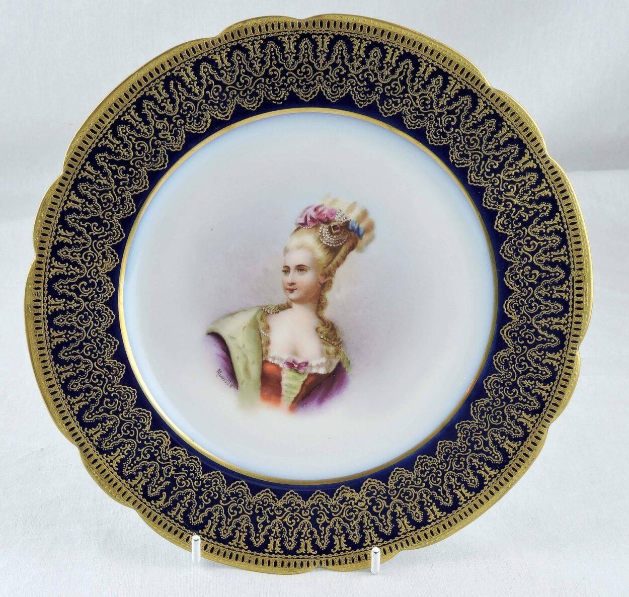 Sold  sc 1 st  Bernardis Antiques & Pair of Napoleon III Sevres Portrait Plates 1860 Mdme Pompadour ...