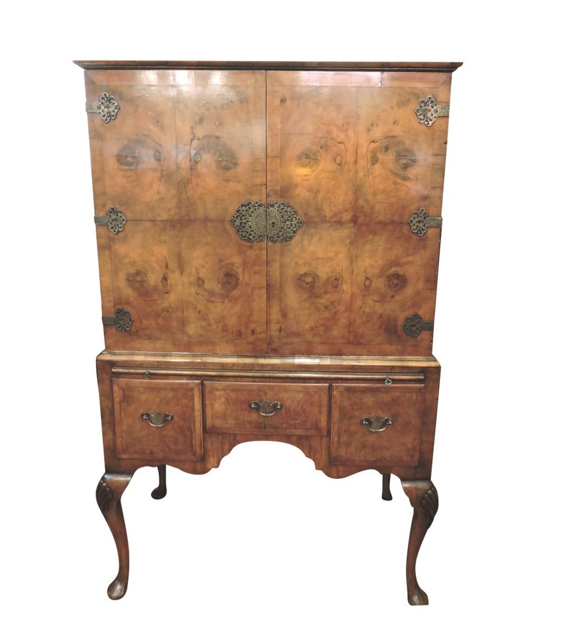 Outstanding Antique 19th C Burled Walnut Wood Lowboy Chest Table Queen Anne Banded Top Original Hardware at Vintageway Furniture 8008
